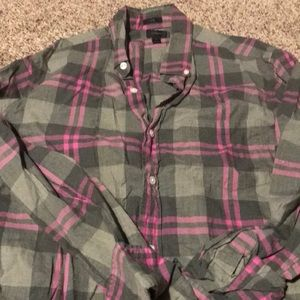 Jcrew green/pink plaid button down